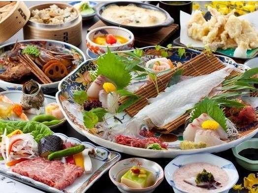 【迷った時はこちら!!】 当館人気の活イカ・佐賀牛・名物鯛の兜煮付き「よくばりプラン」♪