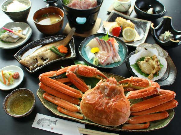 日本海に来たならやっぱ蟹でしょう☆茹で蟹一人一杯付+海鮮コースをまんぷくに食べつくそう♪
