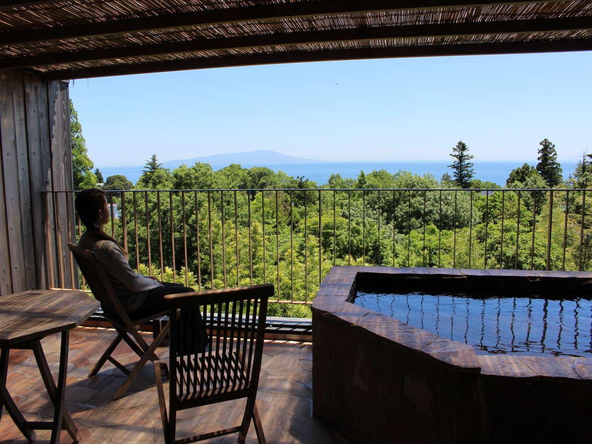 お部屋の露天風呂からは伊豆の風景を一望できます