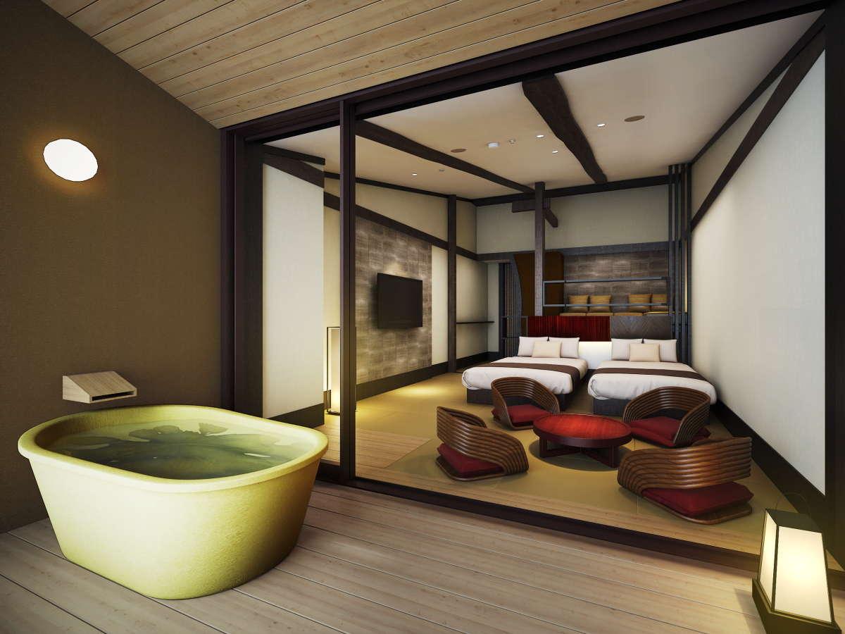 全室天然温泉の露天風呂付客室
