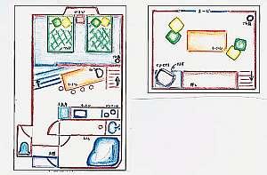 全室同じ間取り。TV.エアコン2台。常時お布団も用意されています。宿泊代金の他に掛かるもの無し!