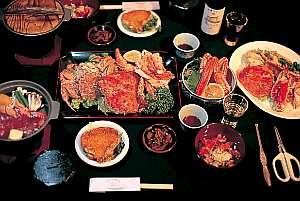 オーナーおまかせプランの夕食 活ガニも十勝和牛も有!