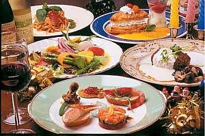 ディナーはイタリアンコース(写真はある日の一例)