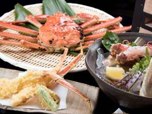 【*カニコース一例】越前ガニをカニ刺しや天ぷらなどフルコースで。