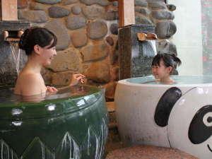 大浴場「あいの湯」パンダ・カッパ風呂♪民話の郷遠野にちなんだカッパを模した陶器風呂♪