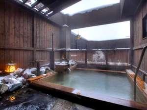 温泉大浴場〝ゆくら〟【弐の湯露天の雪景色】こじんまりとした浴場から晴れた日は星空が・・!