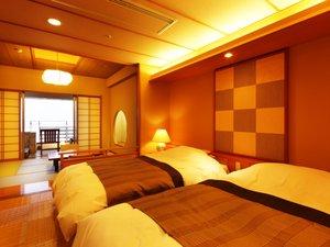 露天風呂付客室 ベッドルーム(和洋室タイプ) 寝心地の良いベッドでごゆっくりお休みくださいませ。
