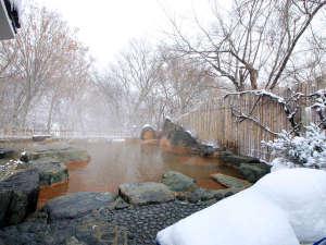 【雪見露天風呂】源泉かけ流しの湯量豊富な天然温泉