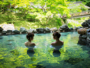 新緑の緑が温泉に反射して気持ちいいですね♪