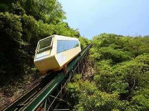 ケーブルカー~川沿いの露天風呂へ・・・傾斜角42度の斜面をゆっくり上り下り