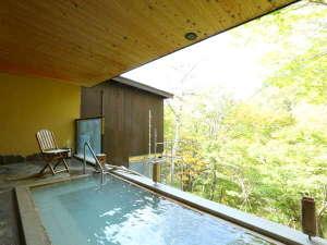 日によって濁り方が違う露天風呂。渓谷に面していて、解放感抜群です。