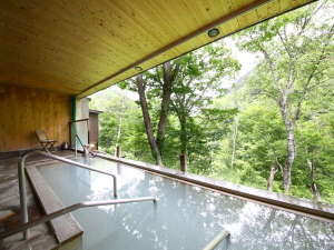 緑美しい夏の景色と白い温泉