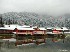 世界遺産厳島神社(宮島)雪景色