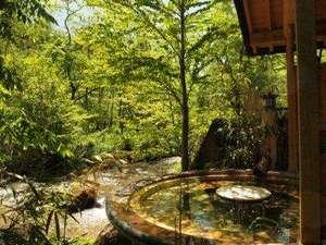 福地温泉にはめずらしい渓流露天風呂(森の湯)。新緑の季節は肌に心地よい。
