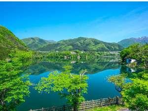 宿客室から望む新緑の赤谷湖
