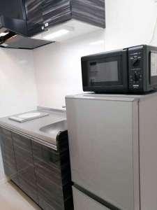 電子レンジと冷蔵庫完備