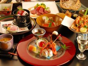 月替わり趣肴会席一例:焼物・洋皿・煮物・お食事がお選びいただけます。