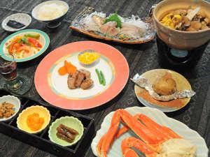 【夕食】地元愛別町産きのこ鍋を中心とした和風コース