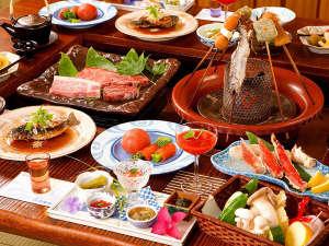 豪華食材と「囲炉裏風会席」特撰ぷらん <お料理一例>