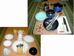 食器や調理器具が一通り揃っているので便利