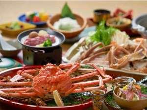 タグ付き生松葉蟹1人1枚利用 茹で蟹、かにすき鍋をシェア&鳥取和牛付のよくばり会席