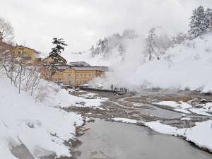 【冬の外観】漂う湯けむりに囲まれた後生掛温泉