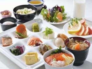 【北海道朝食バイキング】盛付例:和食中心の場合