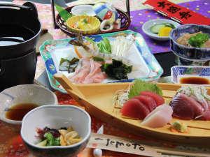 ★夕食_『マグロ料理と海鮮しゃぶしゃぶ』気仙沼自慢の食材が並ぶ海の幸満喫コース♪
