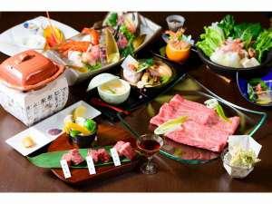 特選近江牛しゃぶと三種陶板焼き。恵みの美味会席プラン