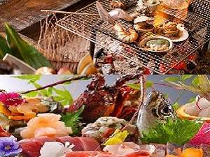 お料理は、炭火焼コースとお刺身中心の磯料理がございます。2泊してお料理を変えてみてもいいかも。