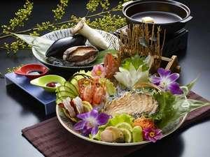 【あわび、車海老、地魚刺盛りとあわび蒸し焼き】付きビュッフェ