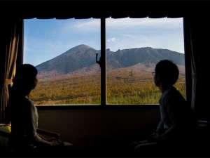 目の前に岩手山が広がる岩手山側洋室。