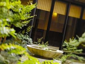 料亭中庭にたたずむ水盤