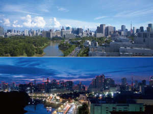 皇居側の部屋からは東京タワーや国会議事堂など東京を代表するスポットと緑豊かな皇居の杜を望む