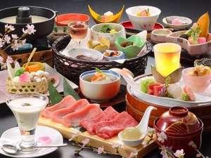 【さくら膳】山形牛と米の娘ぶたの合しゃぶプラン。ゆさでは季節に合せた旬のプランをご用意しております