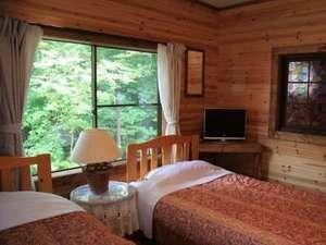 大きな窓からの光がとても明るいお部屋です。窓の外にはさわやかな緑が広がっています。