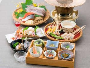 揚げゆうゆ・お客様ご自身で揚げて頂く天ぷら膳です。