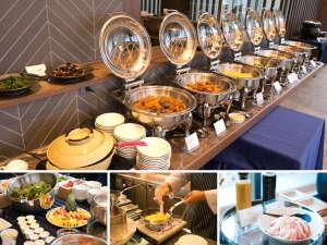 最上階のレストランでの朝食バイキング(イメージ)