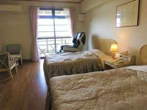 【禁煙】デラックスツインルーム 一番眺めの良いお部屋です。マッサージチェア・空気清浄機完備。