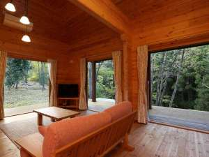 開放的なリビングの窓からは自然の景色を楽しめます。