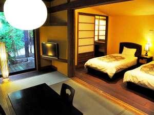 【露天風呂付き客室】和の寛ぎと洋の快適さが融合した客室でゆったりとお寛ぎ下さい。