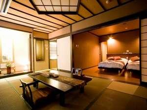 新館西館4階 和洋室(10.5~16畳+ベットルーム)。禁煙室はありません。換気、消臭対応可。