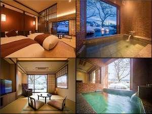 ◆雪見部屋・リニューアル【離れ】半露天風呂付客室45㎡/和室8畳+ツインベット+マッサージ機