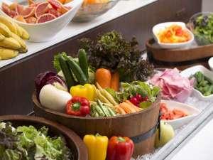 朝食会場には色とりどりのお野菜が並びます。 普段見慣れない珍しいお野菜もどうぞお楽しみくださいませ。