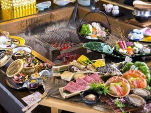 炉端会席膳は、山海の幸をスタッフがお客様の目の前でじっくり焼き上げます。