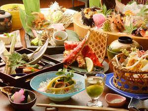 【美食会席】見た目も鮮やかな会席料理一例。旬の新鮮魚介は舟盛り等でご提供。