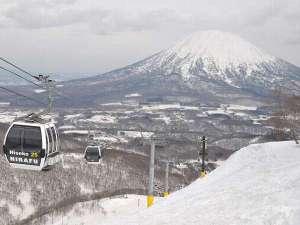 グラン・ヒラフは、壮大な羊蹄山を眺めながら滑ることができます