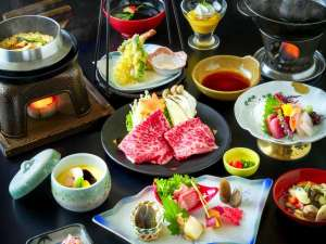 【福島牛のしゃぶしゃぶ付き和食膳】夕食グレードアッププラン!福島牛A4ロースのとろけるような味わい。