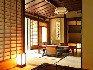 【介山荘:半露天風呂付き特別室】当館で最も広い造りのお部屋。