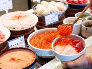 【2階/朝食】お好みの海鮮で作るオリジナル海鮮丼。海鮮は日替わりでご用意しております。